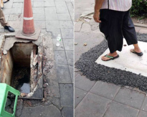 Woman in Bangkok falls down 3m-deep manhole while on her way to work