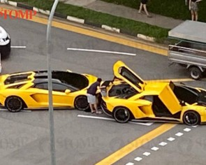 Lamborghini 'twins' collide in Sembawang after 1 fails to stop in time