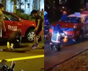 Traffic accident leaves motorcyclist pinned under taxi but witness wants to know if he is Chinese
