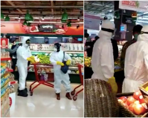 Grocery shoppers covered head to toe spark fury in Jakarta