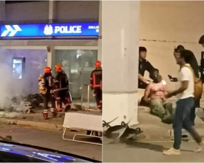 Man detained and charged over fire outside police post in Boon Keng