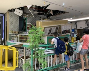 False ceiling in Northpoint City collapses onto eatery's order counter