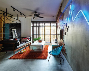 Neon lights, Peranakan tiles in this home of 'wild' ideas