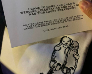 Marc Jacobs' wedding giveaway of choice? A sweatshirt