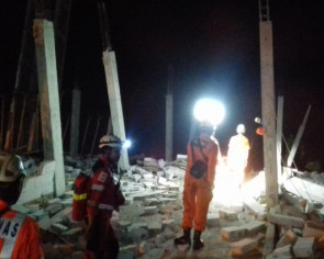 Building collapses in Medan city centre