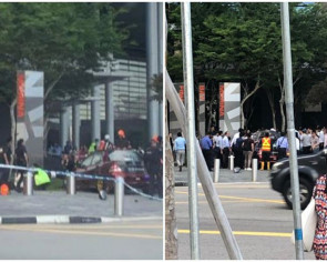 Driver arrested after car crashes through bollard, injuring 4 at Marina Bay Financial Centre