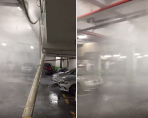 Water pipe collapses in Yishun mall carpark