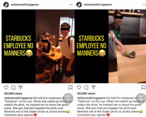 Secondary school students cause mischief at Starbucks, employee appears to flip drink in retaliation