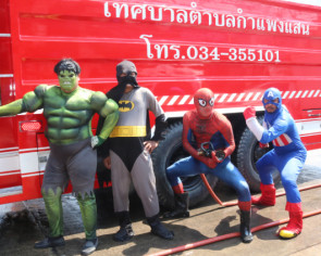 Superhero firemen in Thailand cleanse the streets of PM2.5 dust