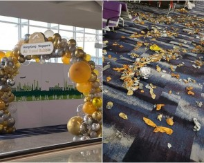 Heap of deflated balloons to celebrate travel bubble at Hong Kong International Airport is a 2020 mood