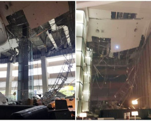 Ceiling collapses at KL Hilton lobby during maintenance; 1 worker injured