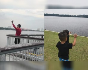 Malaysian man standing in Woodlands Park waves to family in Johor