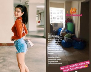 Local actress Kimberly Chia kena complained by neighbours for blocking HDB common space with trash