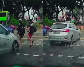 Jaywalking pedestrians sent flying metres away after collision with taxi at Paya Lebar