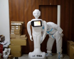 Mitra the robot helps Covid-19 patients in India speak to loved ones