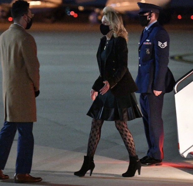 US First Lady Jill Biden's fishnet tights cause a stir - trolls say she looks 'trashy', others 'would buy a pair in a heartbeat'
