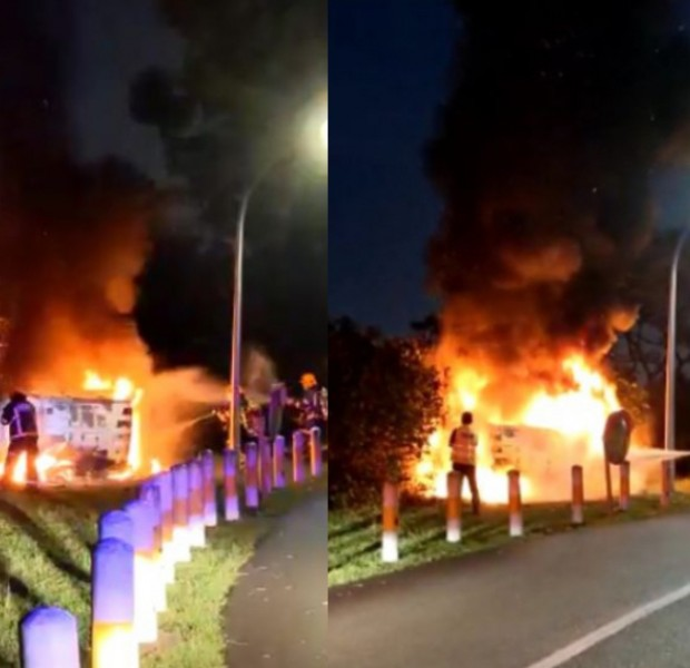 Man, 22, arrested for drink driving after 4 injured in fiery Jurong crash