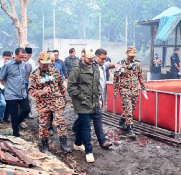 Johor Crown Prince checks out forest fire
