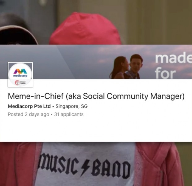 Mediacorp is looking to hire a Meme-in-Chief who'll get paid to craft memes on a full-time basis