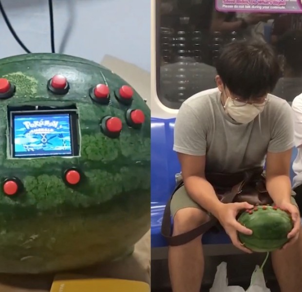 Singaporean student builds a Game Boy out of a watermelon, plays Pokemon Emerald on it in public