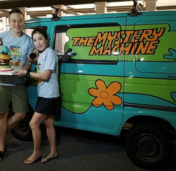 In the passenger seat: Clarence Tan, owner of Singapore's Mystery Machine
