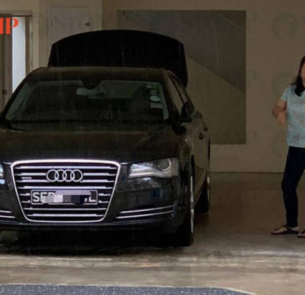 Woman parks Audi at Tampines void deck, says that's what the ramp is for