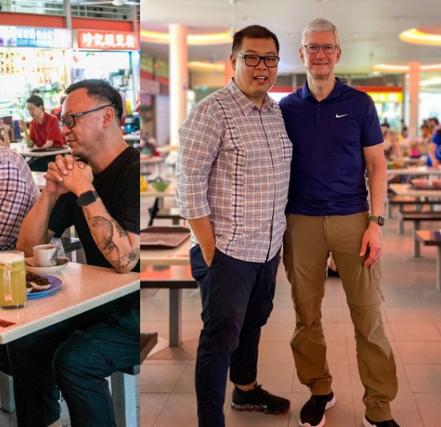 Apple CEO Tim Cook chats with local iPhoneographers over chwee kueh at Tiong Bahru Market