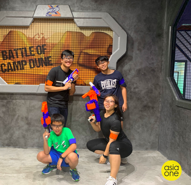 I challenged 3 boys to 'battle' at the world's first Nerf arena in Singapore. Here's how it went