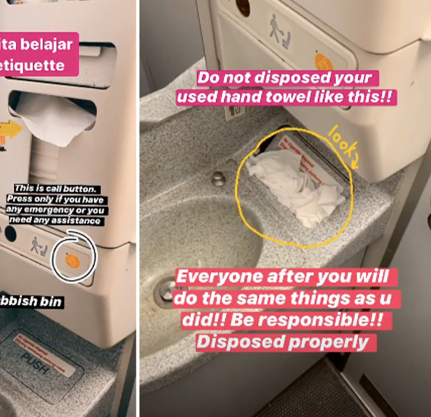 Fed-up AirAsia flight attendant shares tips on how to properly use the airplane toilet