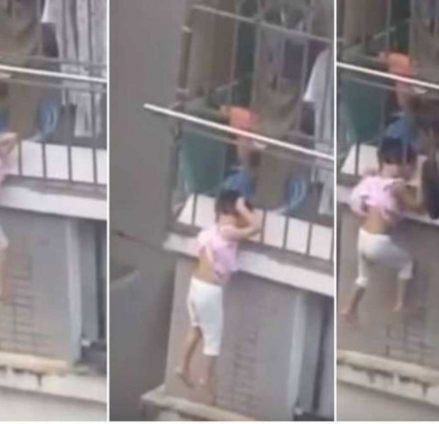 Neighbour saves 4-year-old girl dangling by her head from fourth-floor balcony in China
