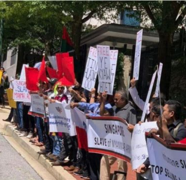Myanmar nationals stage protest outside Singapore embassy in Washington