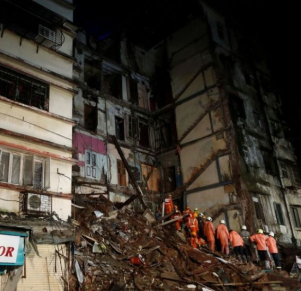 Several feared trapped after building collapses in Mumbai