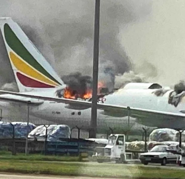 Ethiopian Airlines cargo plane bursts into flames at Shanghai airport