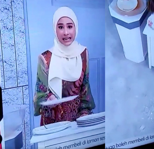 Malaysian shopping channel host breaks plate after claiming it is shatterproof
