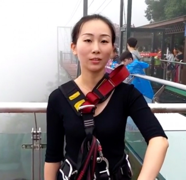 Chinese woman bungee jumps from 300 metres to deliver lunch for work colleagues