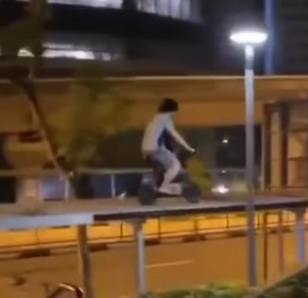 Latest 'loophole' in PMD footpath ban sees rider rolling on top of sheltered walkway