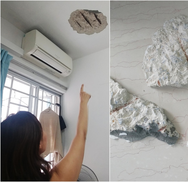 3.4kg of limestone falls from HDB flat ceiling, nearly hits tenant