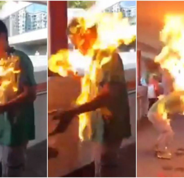 Hong Kong police investigating videos of man set alight