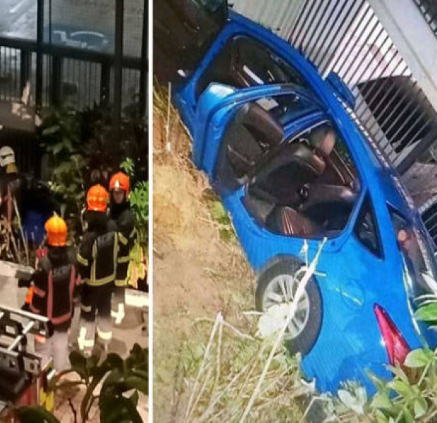 Female cabby and passenger taken to hospital after taxi crashes through railing at Keat Hong Close