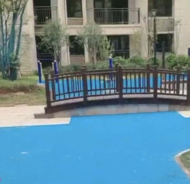 Homebuyers in China were promised 'park views'... the property company built a plastic lake