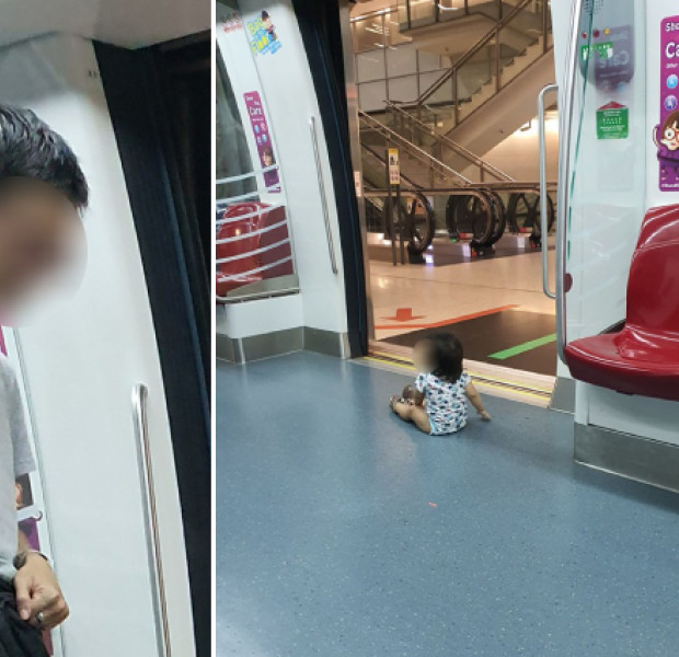 Father lets baby sit on floor near MRT doors, allegedly tells concerned bystander it's not his problem