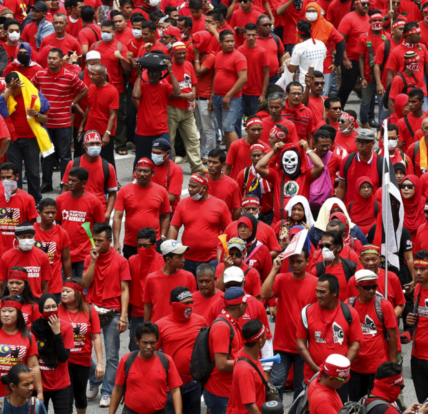 Red shirt protest: Supporters begin their march