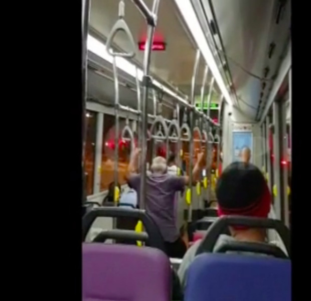 Bus commuter wiggles butt during vulgar rant about 'showing your backside'