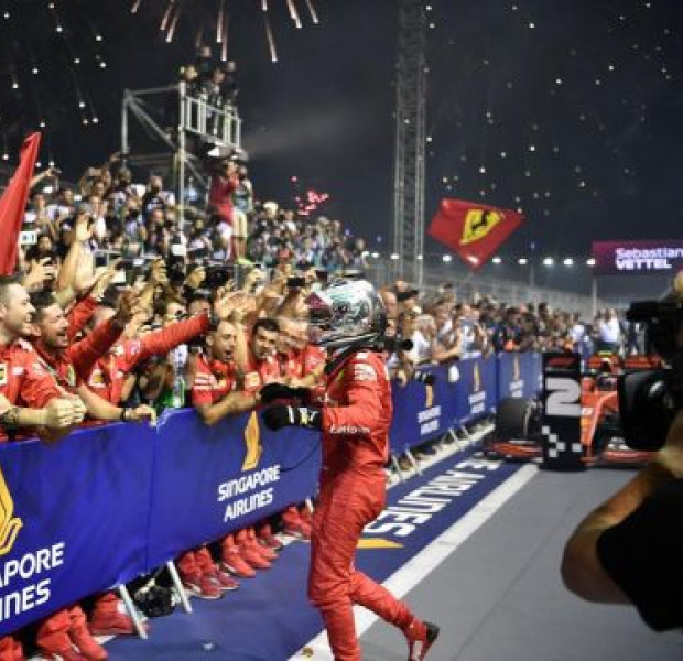 Ferrari's Sebastian Vettel wins Singapore Grand Prix for record 5th title at Marina Bay