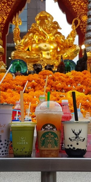 Bubble tea the new holy offering? Thai temple visitors think so