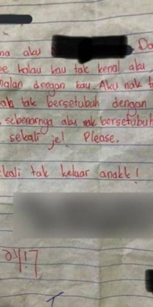 Malaysian girl, 11, writes to 12-year-old schoolmate asking for sex