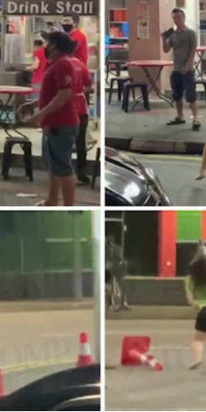 Geylang fight sees woman delivering failed flying kick, whacking man with shoe and traffic cone