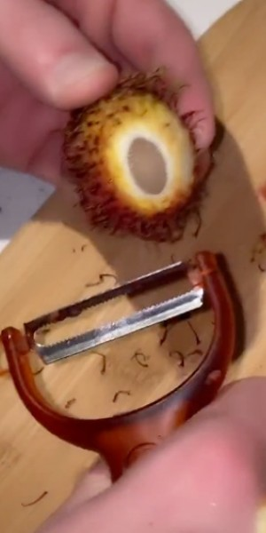 American TikTok user's attempt to get through rambutan with potato peeler triggers Southeast Asians
