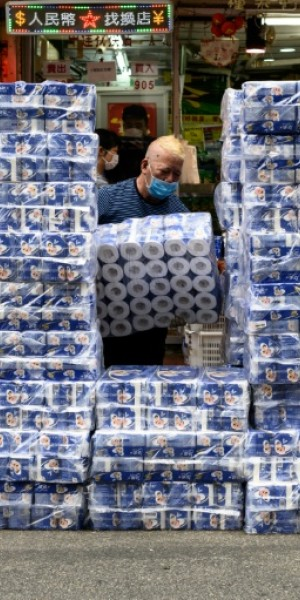 Hong Kong police hunt armed gang who stole toilet rolls amid panic-buying frenzy