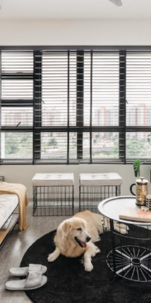 This Sengkang 4-room BTO has a casual-cool, black-and-white theme